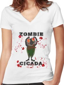 ZOMBIE CICADA RISES FROM THE EARTH Women's Fitted V-Neck T-Shirt