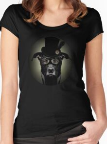 4.	Dapper Eduardian Pit Bull in Steampunk Gear Women's Fitted Scoop T-Shirt