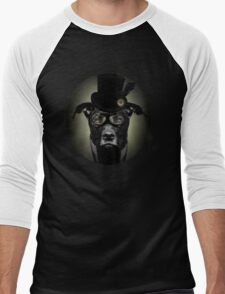 4.	Dapper Eduardian Pit Bull in Steampunk Gear Men's Baseball ¾ T-Shirt