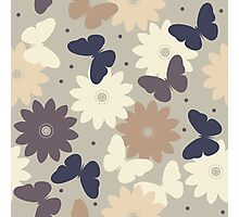 Seamless pattern with decorative chamomile flowers and butterflies silhouettes Photographic Print