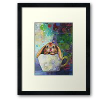 Bunny in a teacup painting - 2010 Framed Print