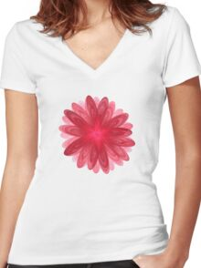 Red Flower Bloom Fractal  Women's Fitted V-Neck T-Shirt