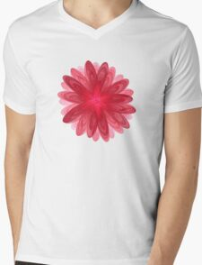 Red Flower Bloom Fractal  Mens V-Neck T-Shirt