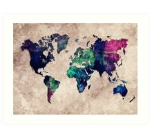 World map watercolor 1 Art Print