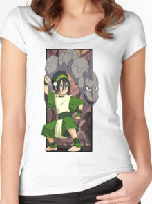 Toph and Onix - Pokemon and Earthbender Women's Fitted Scoop T-Shirt