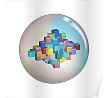 Colourful Cubes and Bubble Poster