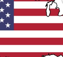 USA Map And Flag Sticker