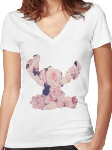 Flowers Stitch  Women's Fitted V-Neck T-Shirt