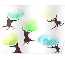 Watercolor Trees Poster