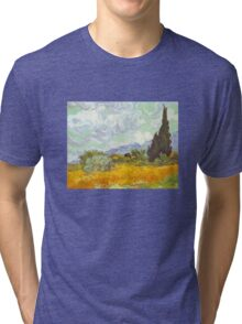'Cornfield With Cypresses' by Vincent Van Gogh (Reproduction) Tri-blend T-Shirt