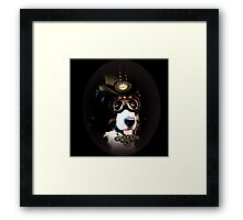 5.	Cheerful Steampunk Bernese Mountain Dog with Hat and Goggles Framed Print