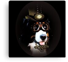5.	Cheerful Steampunk Bernese Mountain Dog with Hat and Goggles Canvas Print