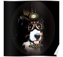 5.	Cheerful Steampunk Bernese Mountain Dog with Hat and Goggles Poster