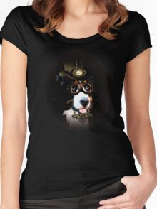 5.	Cheerful Steampunk Bernese Mountain Dog with Hat and Goggles Women's Fitted Scoop T-Shirt