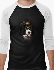 5.	Cheerful Steampunk Bernese Mountain Dog with Hat and Goggles Men's Baseball ¾ T-Shirt