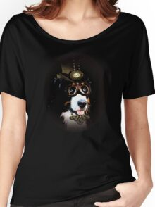 5.Cheerful Steampunk Bernese Mountain Dog with Hat and Goggles Women's Relaxed Fit T-Shirt