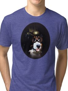 5.	Cheerful Steampunk Bernese Mountain Dog with Hat and Goggles Tri-blend T-Shirt
