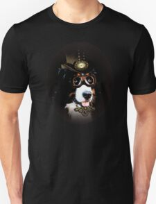 5.Cheerful Steampunk Bernese Mountain Dog with Hat and Goggles Unisex T-Shirt