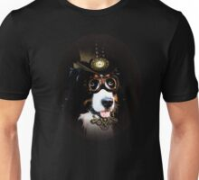 5.	Cheerful Steampunk Bernese Mountain Dog with Hat and Goggles Unisex T-Shirt
