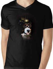 5.	Cheerful Steampunk Bernese Mountain Dog with Hat and Goggles Mens V-Neck T-Shirt