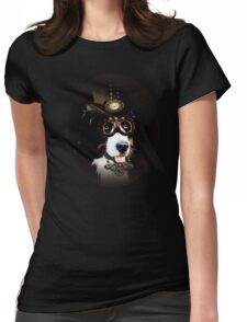 5.Cheerful Steampunk Bernese Mountain Dog with Hat and Goggles Womens Fitted T-Shirt