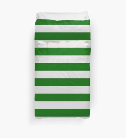 Green and White Hoops Banded Design Duvet Cover