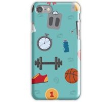 Fitness Seamless Pattern. Background with Fitness Equipment iPhone Case/Skin