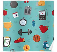 Fitness Seamless Pattern. Background with Fitness Equipment Poster