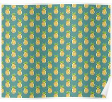 Pastel Pineapple Green Pattern Poster