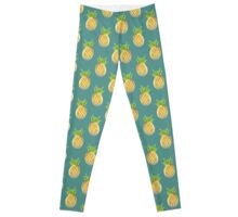 Pastel Pineapple Green Pattern Leggings