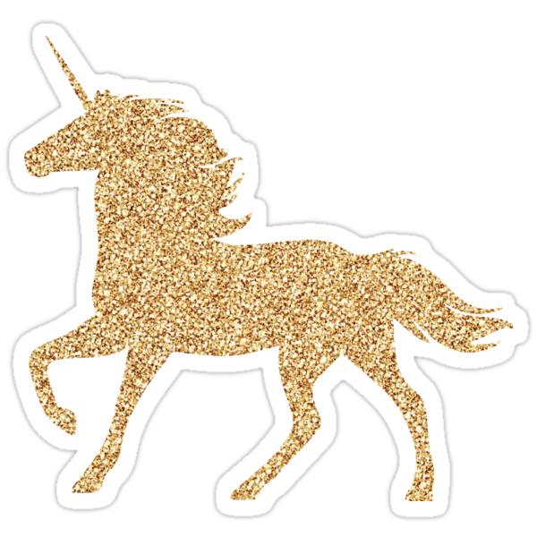 """Glitter Gold Unicorn "" Stickers by CustomsByT   Redbubble"