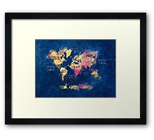 World map watercolor 4 Framed Print