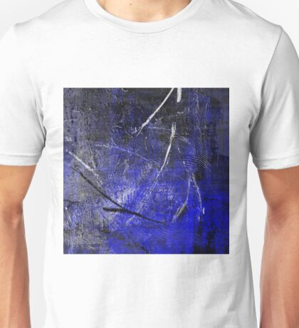 In The Dead of Night - Textured Abstract in blue, black and white Unisex T-Shirt