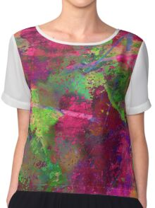 Fusion In Pink And Green Chiffon Top