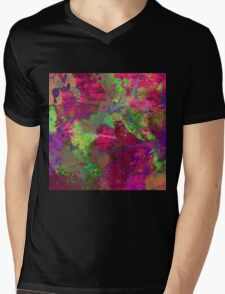 Fusion In Pink And Green Mens V-Neck T-Shirt