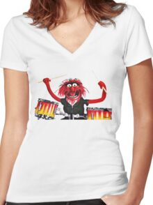 Animal Drummer Women's Fitted V-Neck T-Shirt