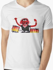 Animal Drummer Mens V-Neck T-Shirt