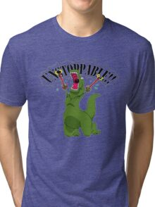 T-Rex With Robot Clamp Toy Tri-blend T-Shirt