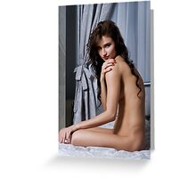 sexy nude erotic glamour playboy girl model Greeting Card