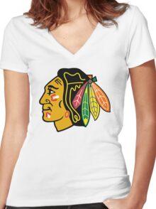 Top Selling Chicago Blackhawks Women's Fitted V-Neck T-Shirt