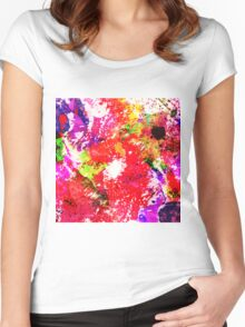 Expression Of Colour - Abstract In Rainbow Colours Women's Fitted Scoop T-Shirt
