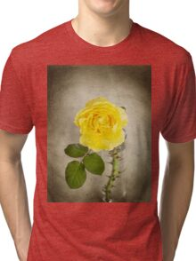 Single Yellow Rose with Thorns Tri-blend T-Shirt
