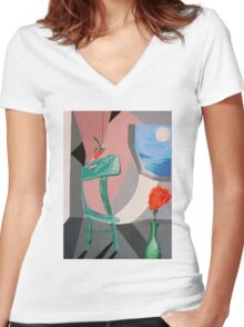 ROOM WITH A VIEW (digitized version) Women's Fitted V-Neck T-Shirt