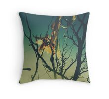 Blue Green Sunset Tree Branches Throw Pillow