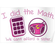 I did the Math, We can't afford a sister with calculator and diaper Poster