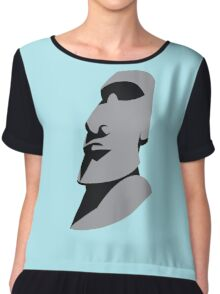 Easter island creepy large faced rock Chiffon Top