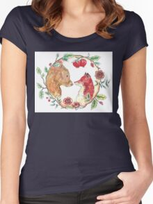The bear and the fox  Women's Fitted Scoop T-Shirt