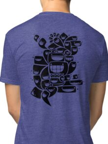 Happy Squiggles - 1-Bit Oddity - Black Version Tri-blend T-Shirt