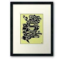 Happy Squiggles - 1-Bit Oddity - Black Version Framed Print