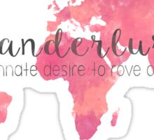 Wanderlust Definition Pink, rose and coral watercolor map Sticker